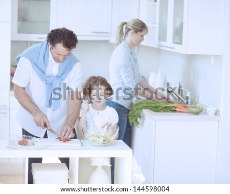 Family preparing healthy meal in kitchen - stock photo