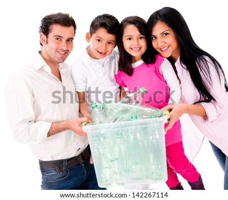 Family recycling plastic bottles - isolated over white - stock photo