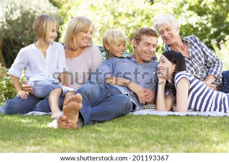 Family relaxing in park