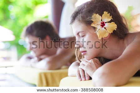 Family relaxing in tropical spa. remote tropical beaches and countries. travel concept