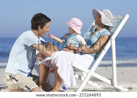 Family relaxing on beach, girl (2-4) on mother's lap in deckchair, wearing sun hats, side view