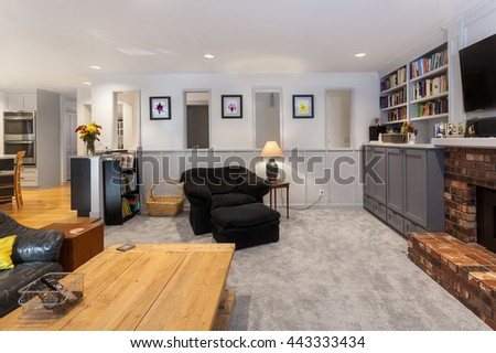 Family room wall and paneling complete - stock photo
