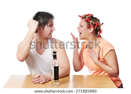 Family scandal because of drunkenness of her husband isolated - stock photo
