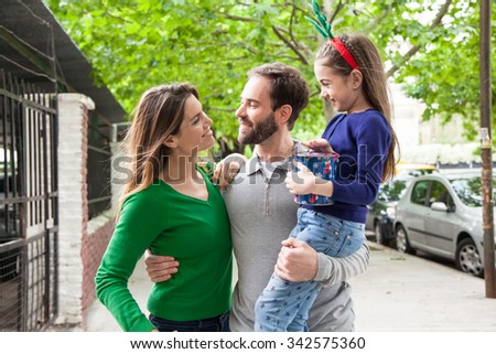 Family shopping for Christmas - stock photo