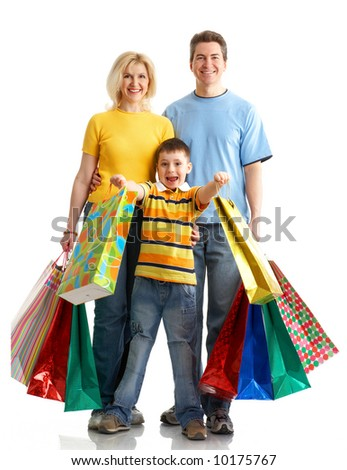 Family shopping. Isolated over white background