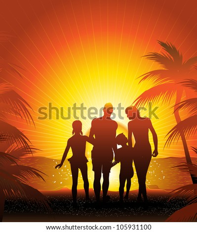 family silhouette on the beach (also available vector version)