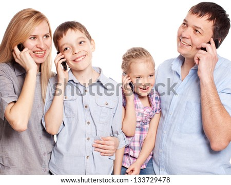 Family, speaking on the phone. People with mobile phone - stock photo