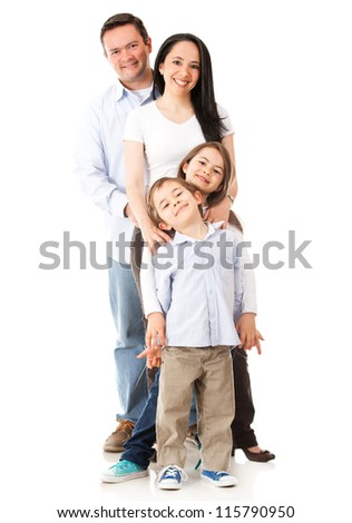 Family standing together - isolated over a white background - stock photo