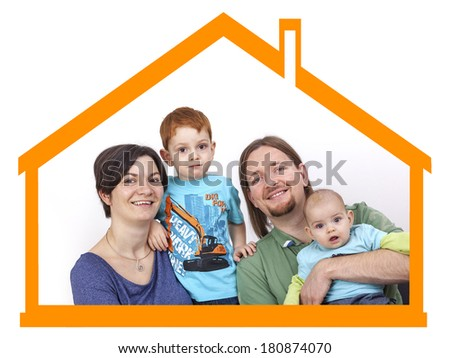 Family symbolically in the house