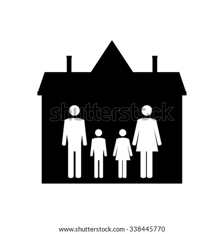 Family symbols mother, father, son and daughter in house. Family home. Happy family icon - stock photo