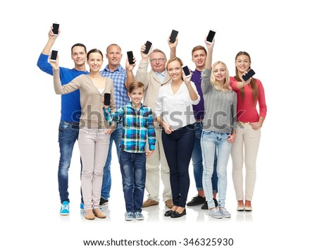 family, technology, generation and people concept - group of smiling men, women and boy smartphones - stock photo