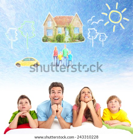 Family thinking about new home and car. Mortgage background. - stock photo