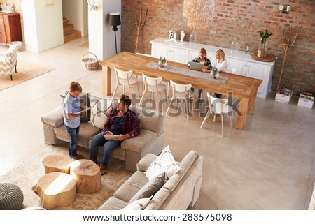 Family time at home - stock photo