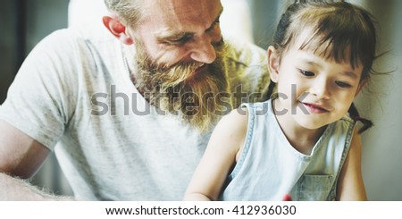 Family Time Daddy Daughter Activity Together Concept - stock photo