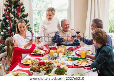 Family toasting with red wine in a christmas dinner at home in the living room - stock photo