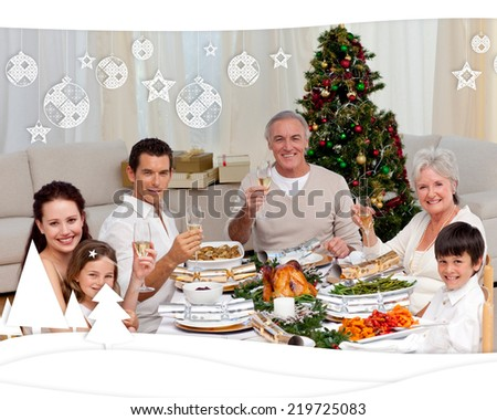 Family toasting with white wine in a Christmas dinner against christmas themed frame