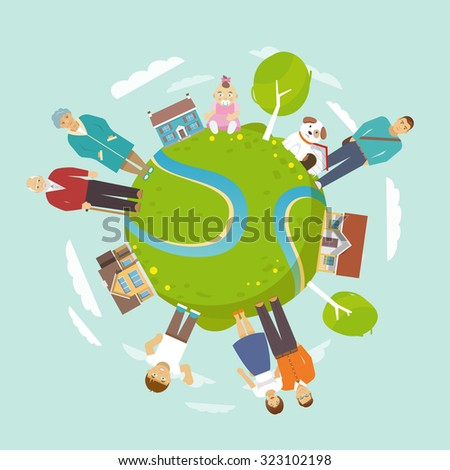 Family together concept with people around the globe  illustration - stock photo