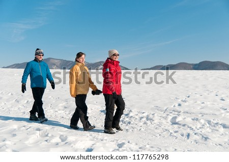 Family together - senior couple walking with their adult child in winter nature - stock photo