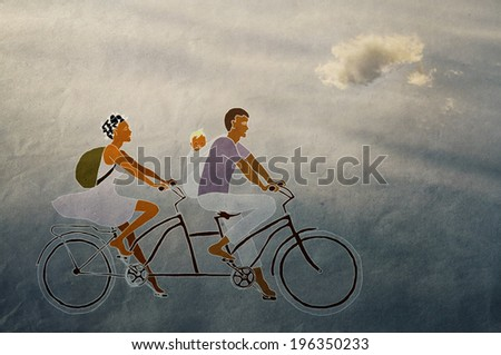 family travels on the bike, vintage