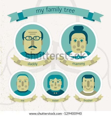 Family tree in doodle style. Illustration. - stock photo