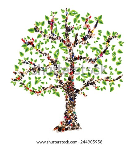 Family tree. People in the form of a tree, family tree concept. - stock photo