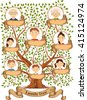 Family tree with portraits of family members  illustration - stock vector