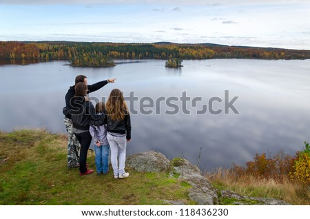 Family trip in the autumn season