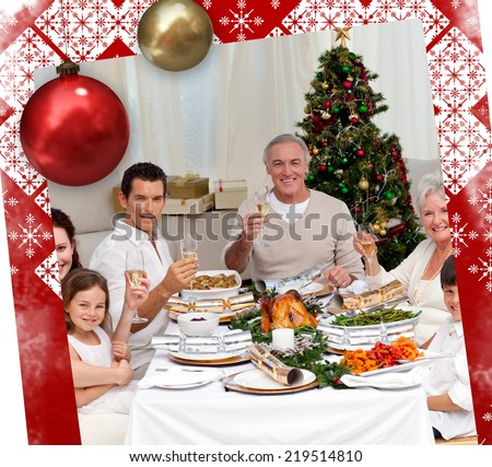 Family tusting with white wine in a Christmas dinner against christmas themed page