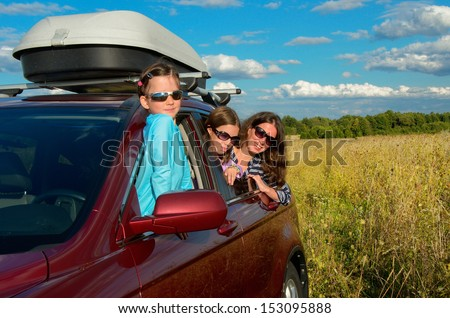 Family vacation, car trip on summer, happy mother travel with kids and having fun, car insurance concept