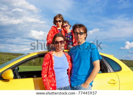 Family vacation. Parents with two kids having car trip