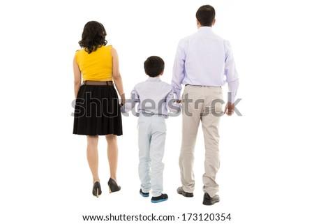 family walking away in studio - stock photo