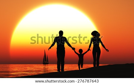 Family walking on the beach.