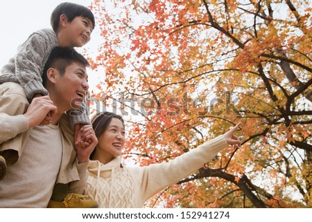 Family walking through the park in the autumn, little boy sitting on his fathers shoulders - stock photo
