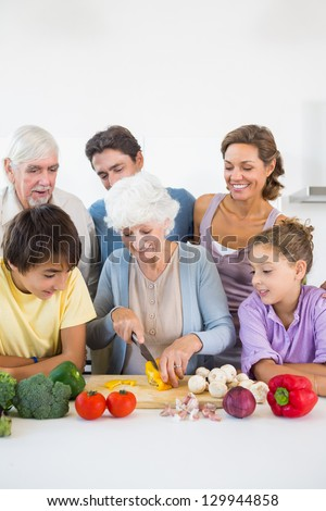 Family watching grandmother slicing pepper in kitchen - stock photo