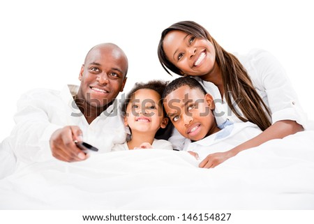 Family watching television - isolated over a white background