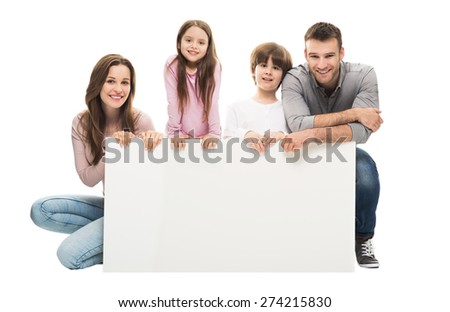 Family with banner  - stock photo