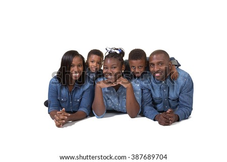 Family with 3 children isolated on white - stock photo
