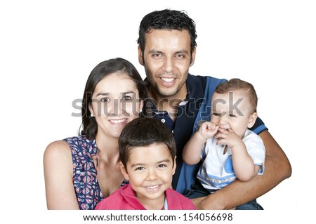 Family with childrens on a white background  - stock photo