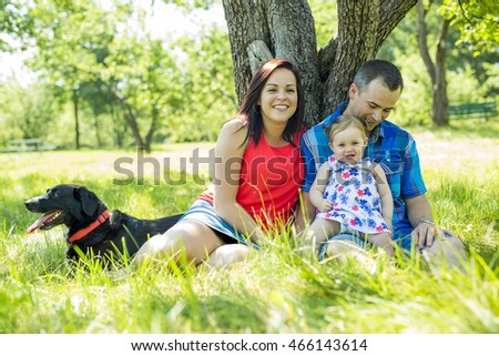 Family with Cute Baby girl Nature in the Forest
