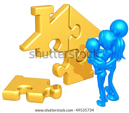 Family With Gold Home Puzzle - stock photo
