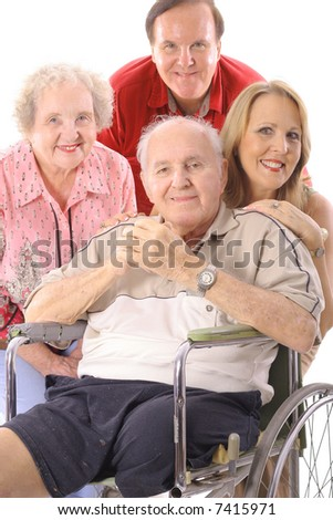 Family with handicap father vertical upclose - stock photo