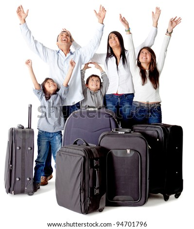 Family with luggage excited about a trip - isolated over a white background - stock photo