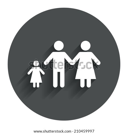 Family with one child sign icon. Complete family symbol. Circle flat button with shadow. Modern UI website navigation.