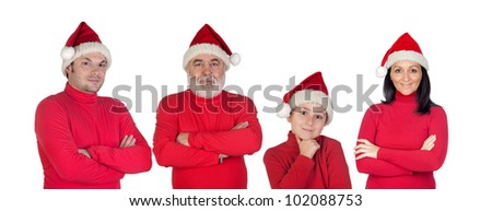 Family with red clothes in Christmas isolated over white background