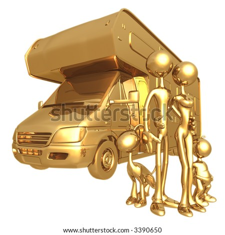 Family With RV Camper - stock photo