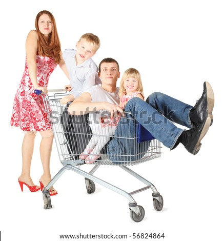 family with two children. father with son and daughter is sitting in shopping basket. Focus on father's face. isolated. - stock photo