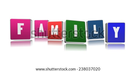 Family word in 3D boxes - stock photo