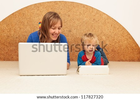 family working from home - stock photo