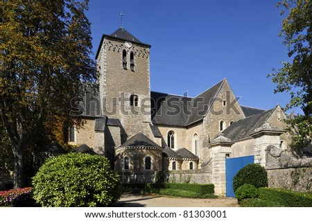 Famous abbey Saint Peter (Saint Pierre) at Solesmes in the Sarthe department in the region of Pays-de-la-Loire in north-western France