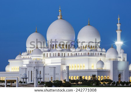 Famous Abu Dhabi Sheikh Zayed Mosque by night, UAE. - stock photo